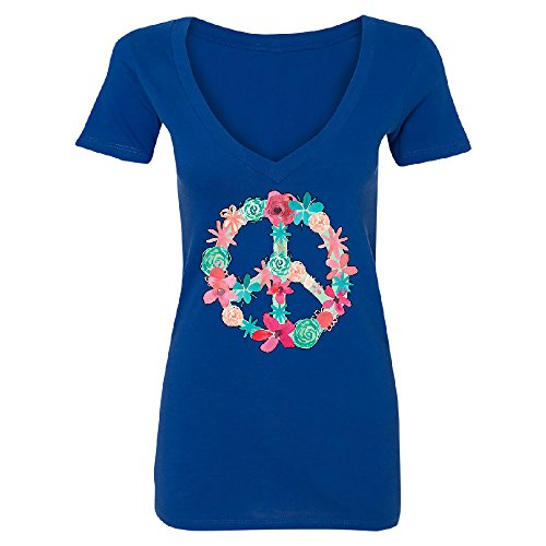 Zexpa Apparel Floral Peace Sign Garden Nature Women's Deep V-Neck Colored Flowers Tee Royal Blue - Sign Floral Peace
