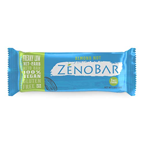 ZenoBar Keto Low Carb Energy Bar, 1.6 oz (Almond Nut, 6-Pack): Vegan, Whole Foods, Low Glycemic, Perfect for Keto, Diabetic, and High Fat Diets