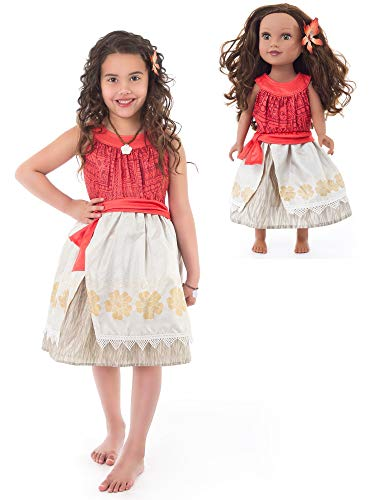 2e22e0284116 Little Adventures Polynesian Princess Dress Up Costume with Flower Hair Clip  & Matching Doll Dress (