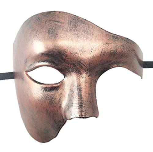 Mens Masquerade Mask Phantom of The Opera Mask Venetian Half Face Mask Halloween Costumes (Antique Copper) -