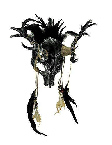 Metallic Tribal Skull Demon Deer with Feathers Adult Halloween Mask, Silver]()