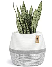 """Goodpick Cotton Rope Plant Basket - Woven Storage Basket for 9in to 11in Plant Pot Floor Indoor Planters, 12"""" x 12"""" Rope Basket Woven Planter Basket Laundry Basket with Handles for Toys, Clothes"""