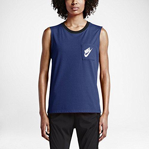 Womens Nike Signal Muscle Tank (Small, Deep Royal Blue/Black/White)