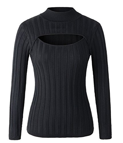 YABINA Women Sexy Keyhole Front Tight Turtleneck Pullovers Sweater Shirt (One Size Thick Strap, Black)