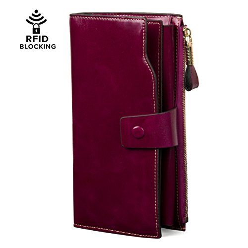 Price comparison product image Clothink Women's Wallet RFID Blocking Large Capacity Wax Genuine Leather Multifunction Long Purse with Zipper and Buckle (Purple)
