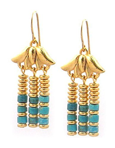 ['Cleopatra Pharaoh Designs' Lotus Egyptian Triple Drop Simulated Blue Turquoise Drop Earrings, 1.5