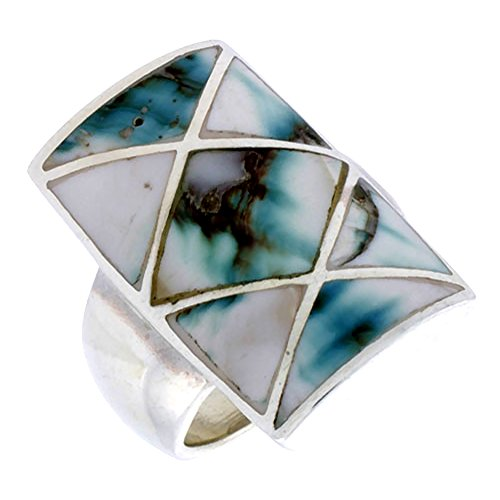 (Sterling Silver Mother of Pearl Ring Crisscross Rectangular Black & White 1 inch size 10)