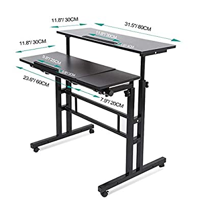 Mobile Stand Up Desk Black Multi-purpose Height Adjustable Laptop Table Computer Cart for Home Office Work Station with Wheels Mobile Display Holder