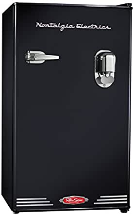 Nostalgia Electrics RRF300DNCBLK 3.0 Retro Series 3.0-Cubic Foot Compact Refrigerator with Exterior Beverage Dispenser, Black