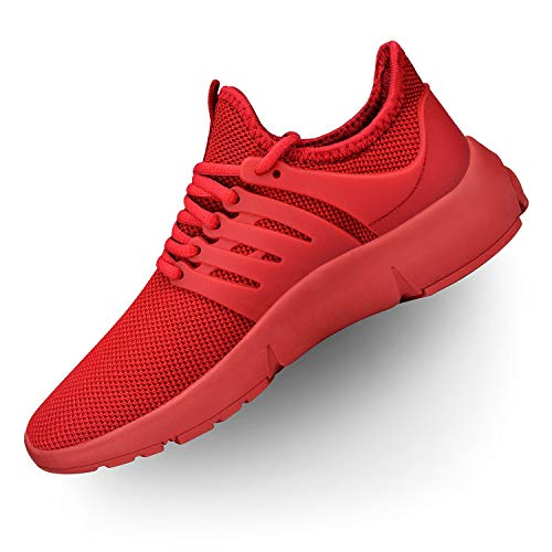 Troadlop Womens Running Shoes Lightweight Non Slip Breathable Mesh Sneakers Sports Athletic Walking Shoes Red 11 M US