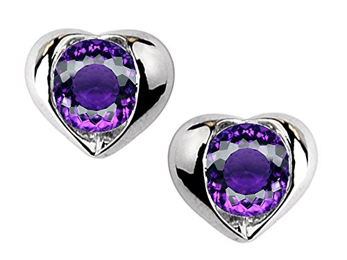 Round Amethyst Bezel (Star K Round 6mm Simulated Amethyst Heart Earrings Sterling)