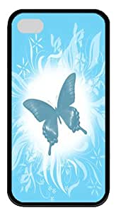 iPhone 4 Cases, iPhone 4S Case/Cover Designs Blue Butterfly iPhone 4 & 4S TPU Rubber and Silicone Cases and Covers - Black