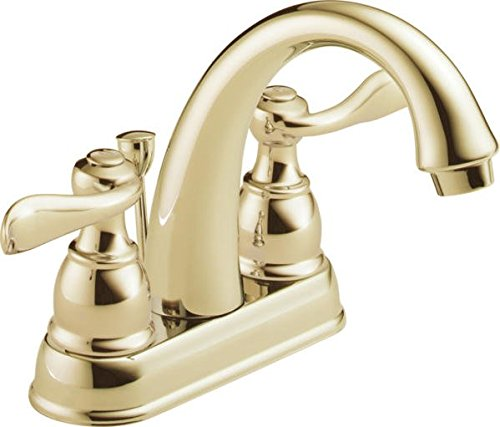 Delta Faucet Windemere 2-Handle Centerset Bathroom Faucet with Metal Drain Assembly, Polished Brass B2596LF-PB