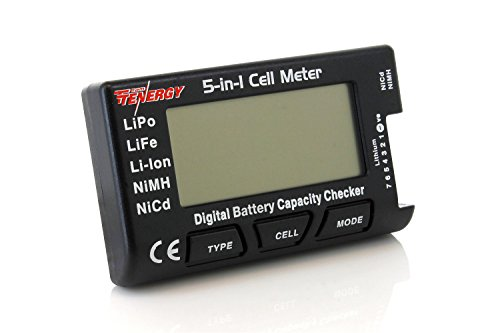 Tenergy 5-in-1 Battery Meter, Intelligent Cell Meter Digital Battery Checker Battery Balancer for LiPo / LiFePO4 / Li-ion / NiCd / NiMH Battery Packs ()