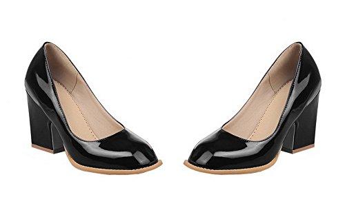 AgooLar Damen Hoher Absatz Blend-Materialien Rein Ziehen auf Schließen Zehe Pumps Schuhe Schwarz