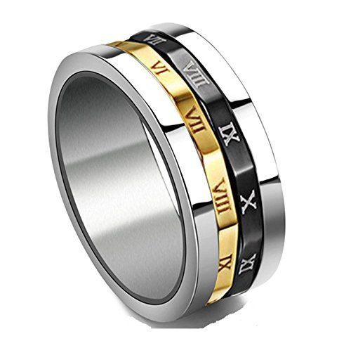 Gold Silvery Black Spinner Stainless Steel Roman Numerals Mens Womens Ring,  Size ()