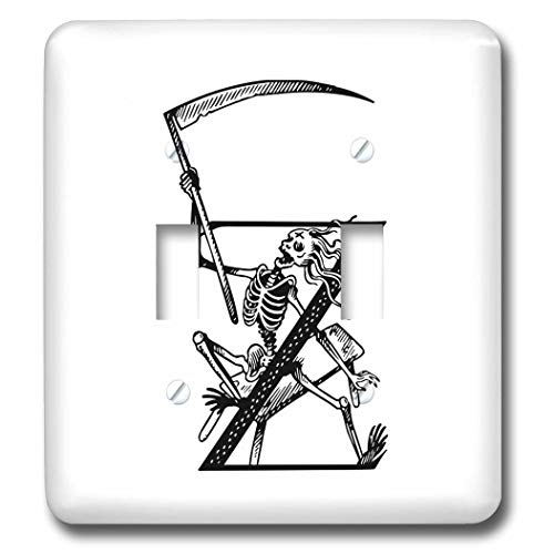 (3dRose Russ Billington Designs - Z is for Zombie- Letter Z with Skeleton and Scythe in Black and White - Light Switch Covers - double toggle switch)