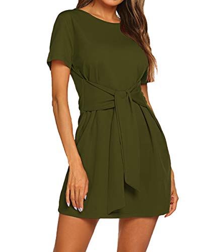 Military Wrap (Women's Elegant Casual Beach Sundresses Midi Sheath Belted Dress Army Green S)