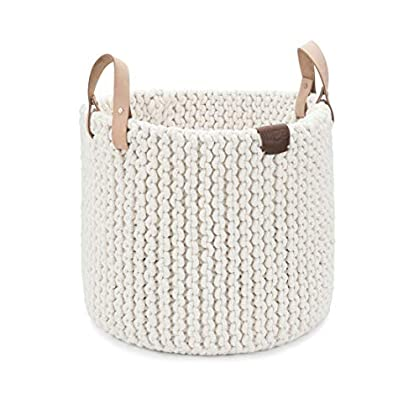 Image of Baby UGG Tulum Handmade Cotton Rope Storage Basket with Leather Handles, Natural, Large