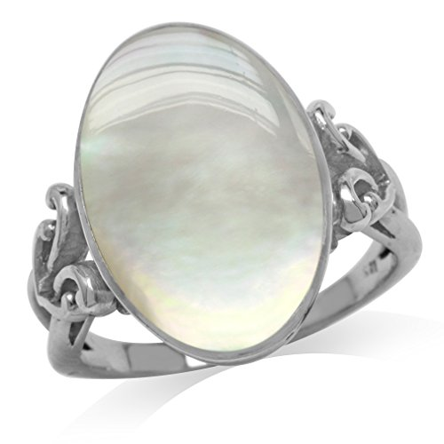 (Mother Of Pearl White Gold Plated 925 Sterling Silver Victorian Style Heart Knot Ring Size 7)