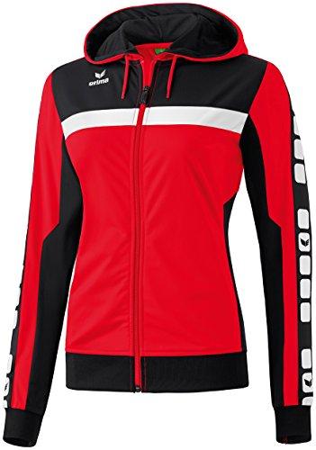 Mujeres Erima chaqueta de entrenamiento de 5 CUBOS con capucha 5-CUBOS Serie rojo / negro / blanco, Opciones Tamaño: 46 Mujeres