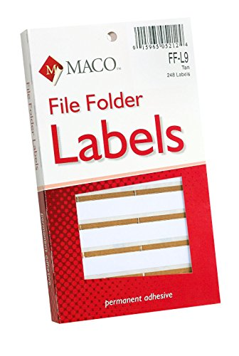Maco Color Coded Typewriter File Folder Labels (MACFFL9)