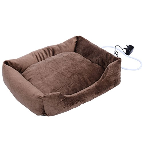 "Pawhut 24"" Indoor Electric Heated Dog Pet Bed - Coffee Brown"
