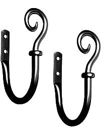 Kenney Medieval Hook Window Curtain Holdback Pair, Black