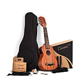 21 inch Solid Mahogany Top and Back – Caramel CS419 Soprano LCD color display Electric Ukulele ukelele Kit Bundle Aquila Strings, Padded Gig Bag, Strap Set