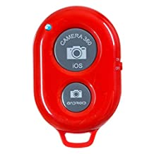 Salesland Bluetooth Wireless Remote Control Camera Shutter Release Self Timer for IOS Android Smartphone Tablet Iphone 5 5s 5c 4s 4, Ipad & all Bluetooth Compatible Products (Red)