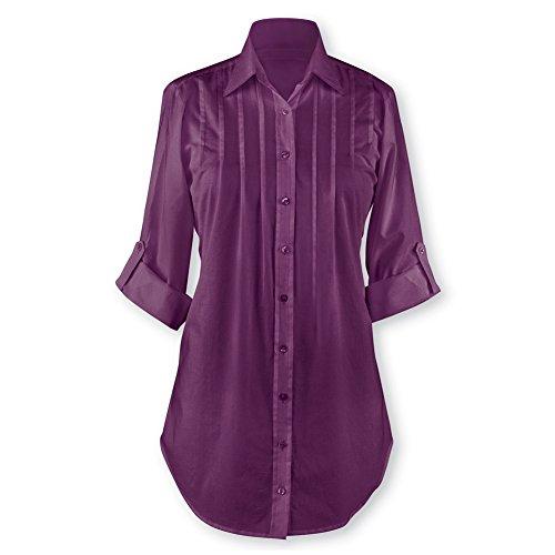 Women's Pintuck Button Front Tunic Top Misses Plum Large, Plum, Large