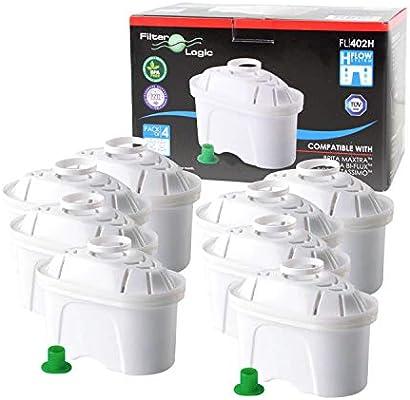 FilterLogic FL402H - 8 unidades - cartucho de filtro compatible con BRITA ® Maxtra ® para Elemaris / Marella / Navelia / fill & enjoy Fun - Bosch , Siemens Tassimo jarra filtrante - 100486 - 1009696: Amazon.es: Hogar
