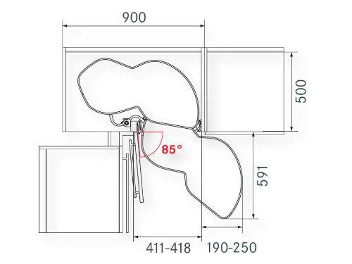 Le Mans Eckschrank 450 mm right so tech lemans ii corner unit system height 600 750