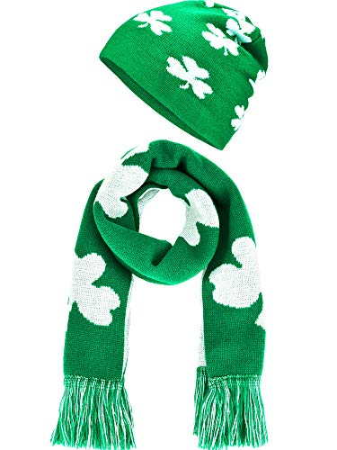 Chuangdi St. Patrick's Day Costume Accessory Set, Include Shamrock Beanie Hat and Scarf Green