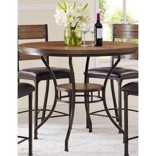 Stockton Oak Round Pub Height Table   Veneer And MDF
