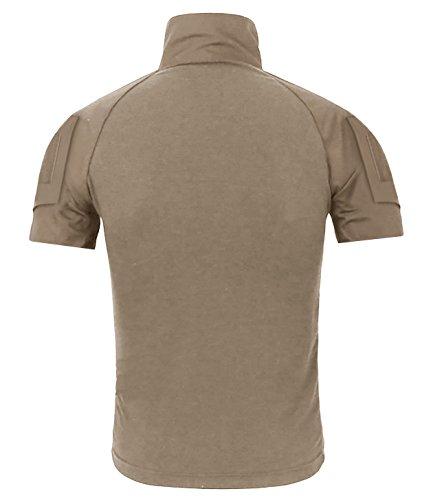 CRYSULLY Male Summer Safari Shirt Fatigue Outdoors Shirt Stylish Classic Climbing Shirts Combat Shirt Pullover Khaki by CRYSULLY (Image #1)