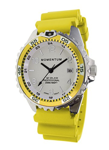 Women's Quartz Watch | M1 Splash by Momentum| Stainless Steel Watches for Women | Dive Watch with Japanese Movement & Analog Display | Water Resistant ladies watch with Date -Lume  / Yellow Rubber