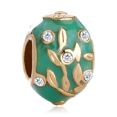 Pugster 22k Golden Peridot Green Drip Gum Branch Leaves Clear Crystal European Faberge Egg Beads Fits Pandora Chamilia Biagi Charms Bracelets