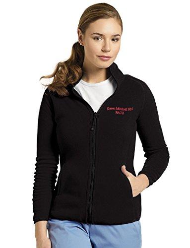 (White Cross Custom Embroidered Polar Fleece Zip Front Sport Jacket Scrubs (Black,3XL))