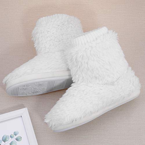 Shoeslocker Womens Slippers Boot Comfort Warm Faux Fleece Fuzzy Ankle Bootie Slippers Anti-Slip Sole Indoor Outdoor Plush Lining Slip-on House Shoes