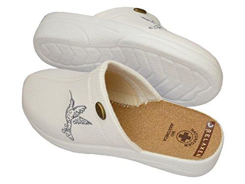 Relaxen - Zapatillas de estar por casa para mujer beige beige Weiß