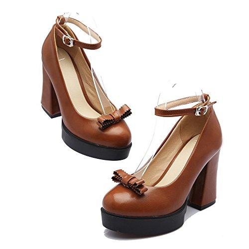 AllhqFashion Damen Rein Hoher Absatz Weiches Material Schnalle Rund Zehe Pumps Schuhe Gelb