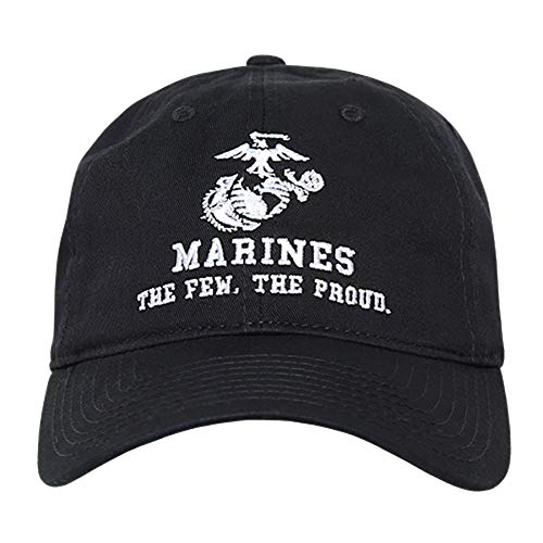 BHFC United States US Marine Corp USMC Marines Polo Relaxed Cotton Low Crown Baseball Cap Hat (Black)