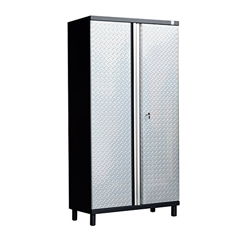 HomCom Tall Steel Garage Organizer Storage Cabinet w/ Doors and Shelves - Silver/Black by HOMCOM