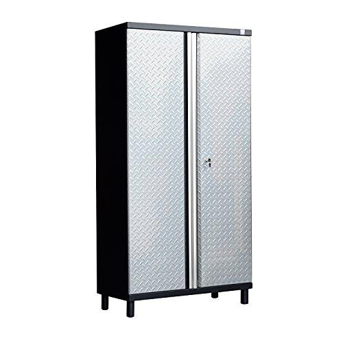 HomCom Tall Steel Garage Organizer Storage Cabinet w/ Doors and Shelves - Silver/Black by HOMCOM