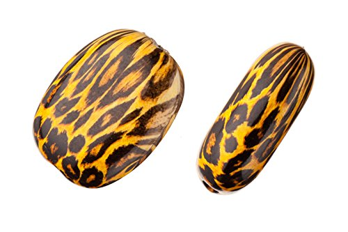 Print Bead Animal - Leopard Print Puffed Oval Plate Acrylic Beads 19.4x25mm sold per pack of 50g/18pcs