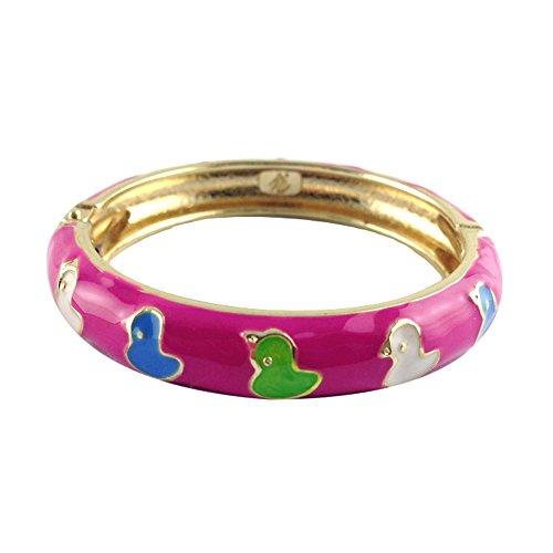 UJOY Childrens Cloisonne Bracelet Bangles Jewelry Girls Enamel Duck Flowers Bangle Gift with Box 55D03 rose (Enamel Duck)