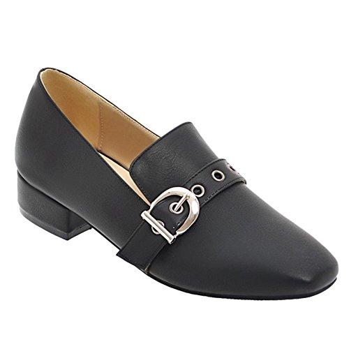 Bedel Voet Dames Vintage Stijl Lage Hak Vierkante Neus Loafers Schoenen Zwart