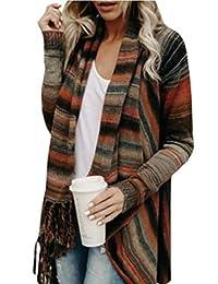 jxfd Women Long Sleeve Wrap Single Button Tassel Asymmetrical Shawl Coat