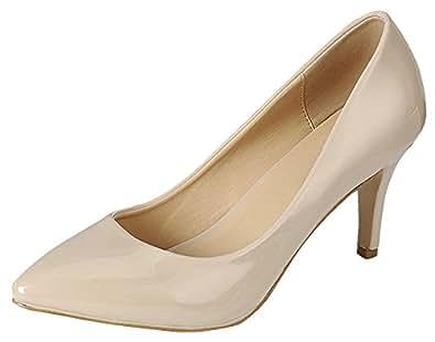 Cambridge Select Women's Classic Closed Pointed Toe Slip-On Stiletto Mid Heel Pump,6 B(M) US,Beige Patent PU